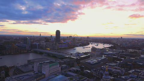 Evening view over London Live Action