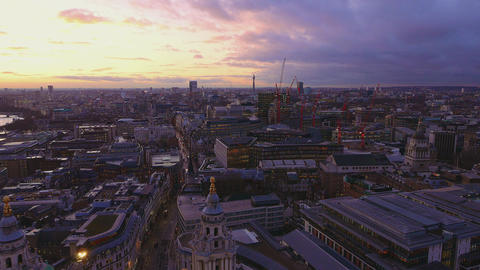 Over the rooftops of London in the evening Live Action