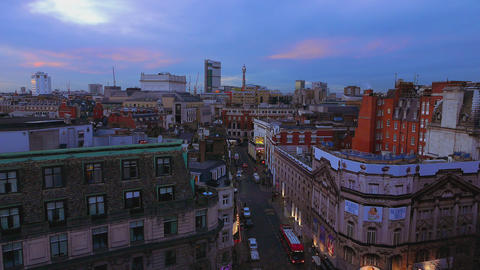 London rooftop view in the evening Live Action