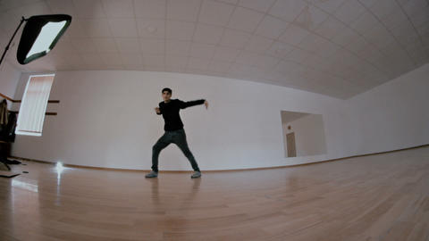 freestyle dancer practiced in the studio Live Action