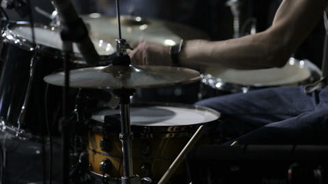 Rock band performing in a nightclub.drummer Stock Video Footage