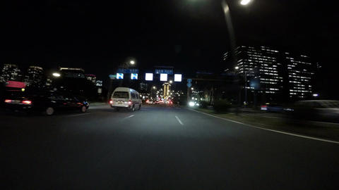 Nightscape through the main strip between the Imperial Palace and Police headqua Footage