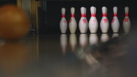 Bowling pins in the bowling club Live Action