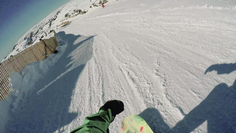 Snowboard freerider in the mountains Footage