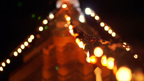 Buddhist Pagoda with festival stripe light during religious holiday Footage