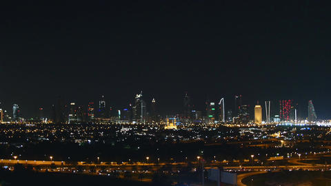 Nightscape of towers in Dubai and highway traffic Footage
