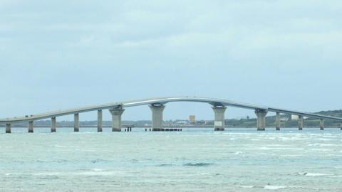 Pan view of the newly opened Irabu Ohashi connecting the islands at Miyakojima Footage