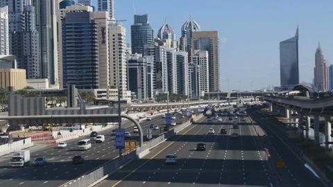 Mass traffic going through central Dubai Footage