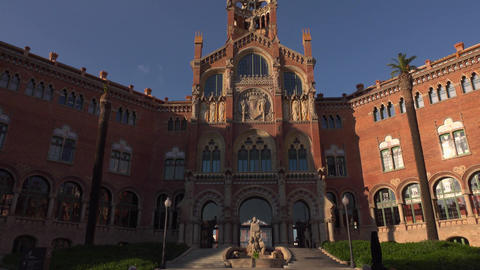 Hospital of the Holy Cross and Saint Paul main building, dolly out shot Footage