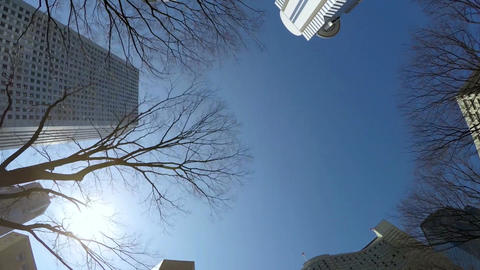Low angle view of skyscrapers in clear blue skies Footage