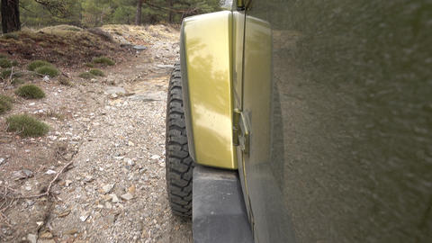 Offroad With A Jeep Wrangler JKU In The Forest stock footage