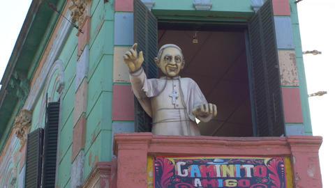 Pope Francis puppet in Caminito, La Boca Footage