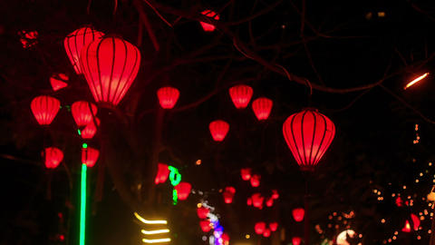 Red Chinese Lit Lanterns in Dark Night Sky Live Action
