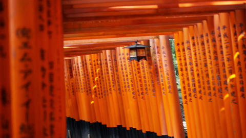 Video of Red gate torii at Fushimi Inari temple shrine in Kyoto, Japan Footage