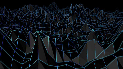 Retro Terrain Wireframe Loop Animation