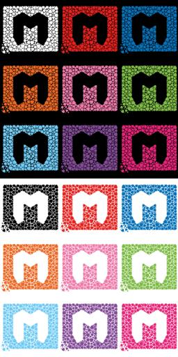The letter M consisting of mediators, emblem on a T-shirt Vector