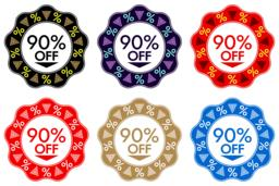 90% Off Discount Sticker. Set of Banner Design with 90% off ベクター