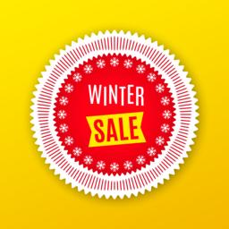 Holiday Banner of Winter Sale. Red White Yellow Vector