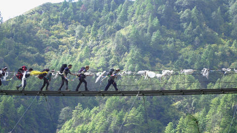Group of trekkers cross suspension bridge Footage