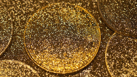 Macro Bitcoin Real Model Cleared from Gold Dust Shines Footage