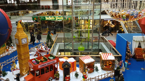 Berlin, Germany December 2017 Christmas decorations at the city center Footage