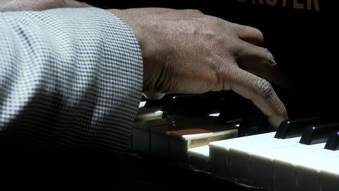 Afro american man hands playing piano Footage