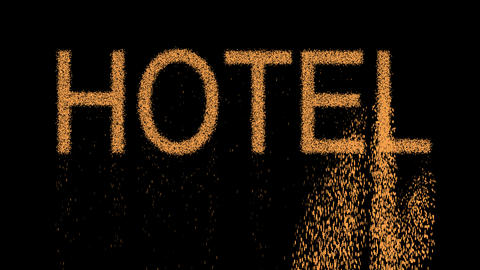 text HOTEL appears from the sand, then crumbles. Alpha channel Premultiplied - Animation