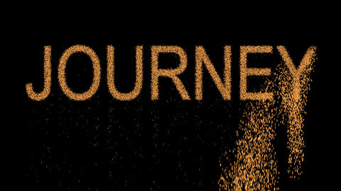 text JOURNEY appears from the sand, then crumbles. Alpha channel Premultiplied - Animation