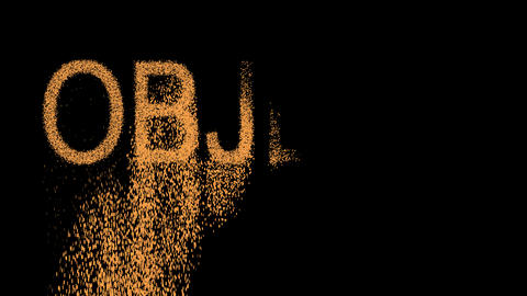 text OBJECT appears from the sand, then crumbles. Alpha…, Stock Animation