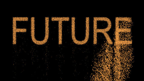 text FUTURE appears from the sand, then crumbles. Alpha channel Premultiplied - Animation