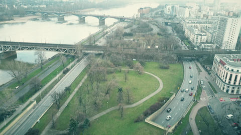 Aerial shot of the Vistula river embankment in Warsaw, Poland Footage