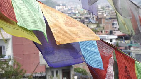 Prayer flags on the background of Kathmandu houses Footage