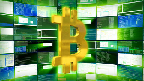 Gold bitcoin sign against a green monitor render Animation