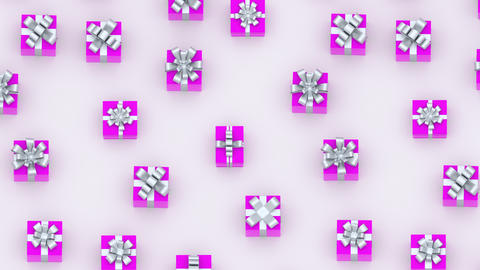Pink gift boxes with silver ribbons. (loop ready) Archivo
