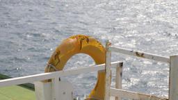 Orange Lifebuoy on ship Footage