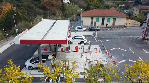Gas Station Aerial View Footage