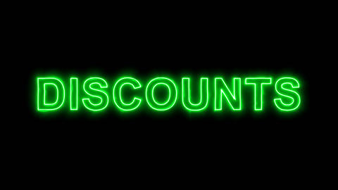 Neon flickering green text DISCOUNTS in the haze. Alpha channel Premultiplied - Animation