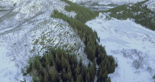 Aerial shot over mountains and trees in winter landscape in Norway Footage