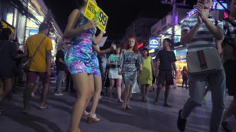 Thai Bar Girls Dancing at Bangla Road - Famous Sex Tourism Street in Phuket. 4K Footage