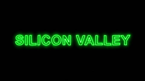 Neon flickering green common expression SILICON VALLEY in the haze. Alpha Animation