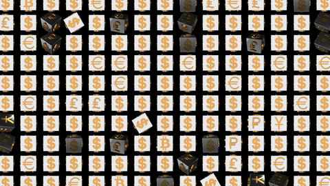 Rotating cubes with icons. gold icons of world currencies. economic business Footage