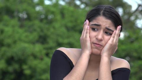 Fearful Stressed Female Hispanic Teenager Live Action