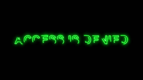 Neon flickering green common expression ACCESS IS DENIED... Stock Video Footage