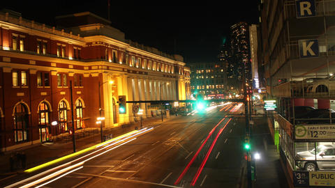 Downtown Vancouver's Waterfront Station at Night Footage