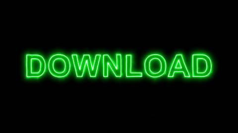 Neon flickering green text DOWNLOAD in the haze. Alpha… Stock Video Footage