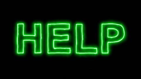 Neon flickering green text HELP in the haze. Alpha channel Premultiplied - Animation