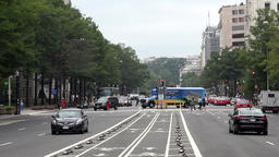 USA Washington D.C. Pennsylvania Avenue with cycle tracks and intersection Footage