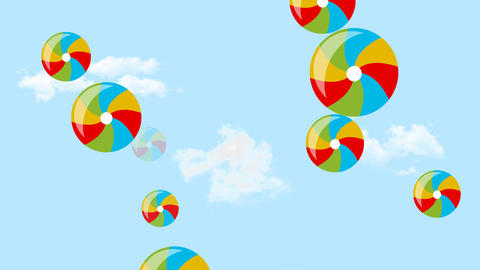 Flying multicolored baby inflatable balls on sky background. White clouds on Animation