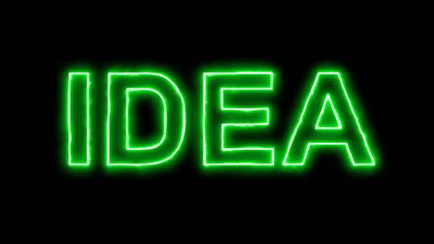 Neon flickering green text IDEA in the haze. Alpha channel Premultiplied - Animation