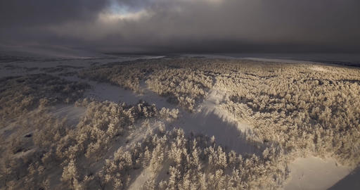 Aerial shot over winter landscape in Norway Footage